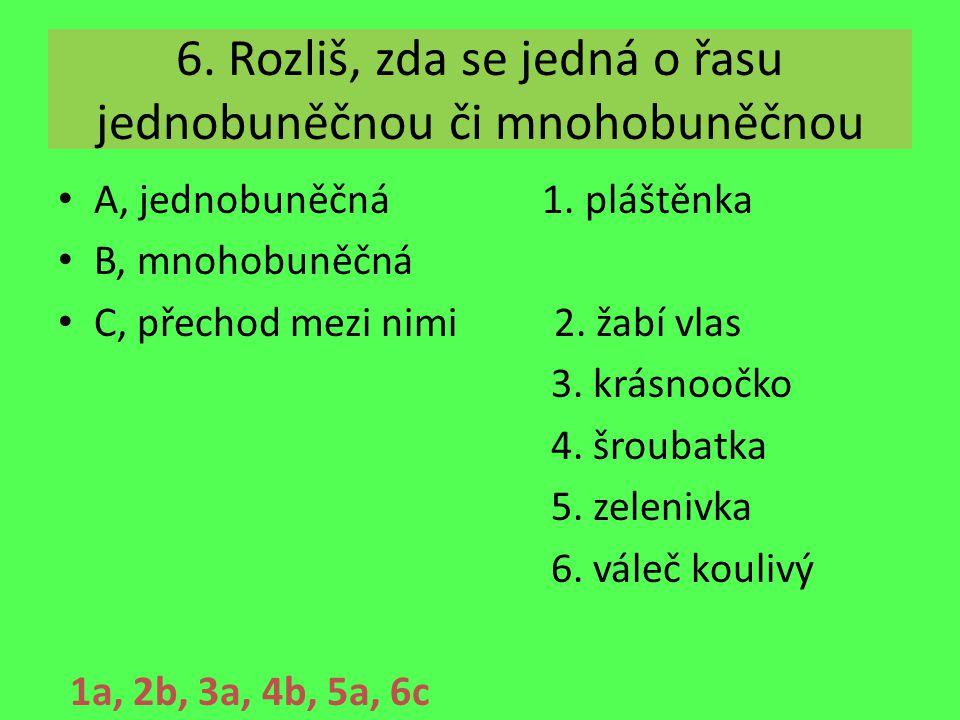 6. Rozliš, zda se jedná o řasu jednobuněčnou či mnohobuněčnou A, jednobuněčná 1. pláštěnka B, mnohobuněčná C, přechod mezi nimi 2. žabí vlas 3. krásno