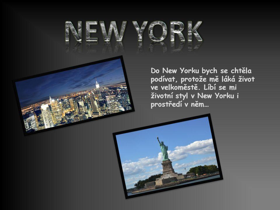 Do New Yorku bych se chtěla podívat, protože mě láká život ve velkoměstě.