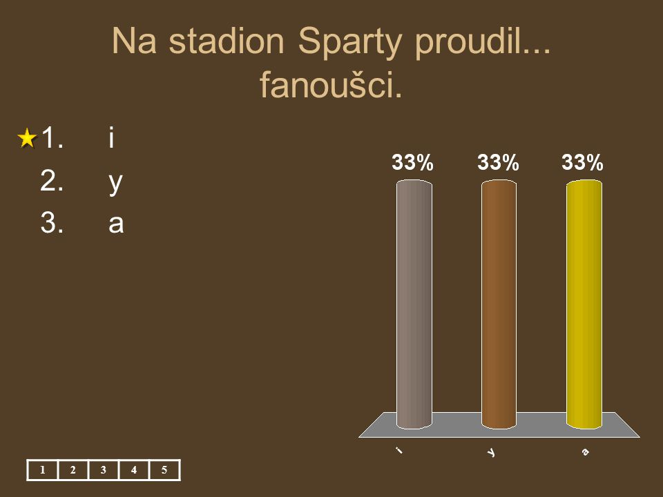 Na stadion Sparty proudil... fanoušci. 12345 1. i 2. y 3. a
