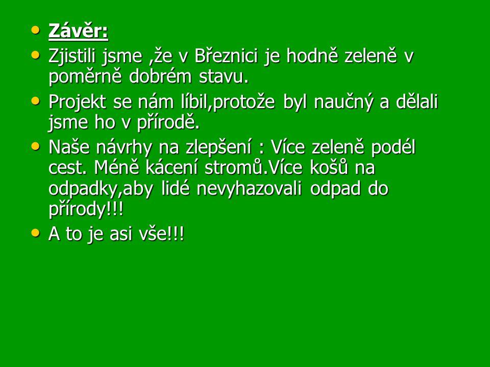 Závěr: Závěr: Zjistili jsme,že v Březnici je hodně zeleně v poměrně dobrém stavu.