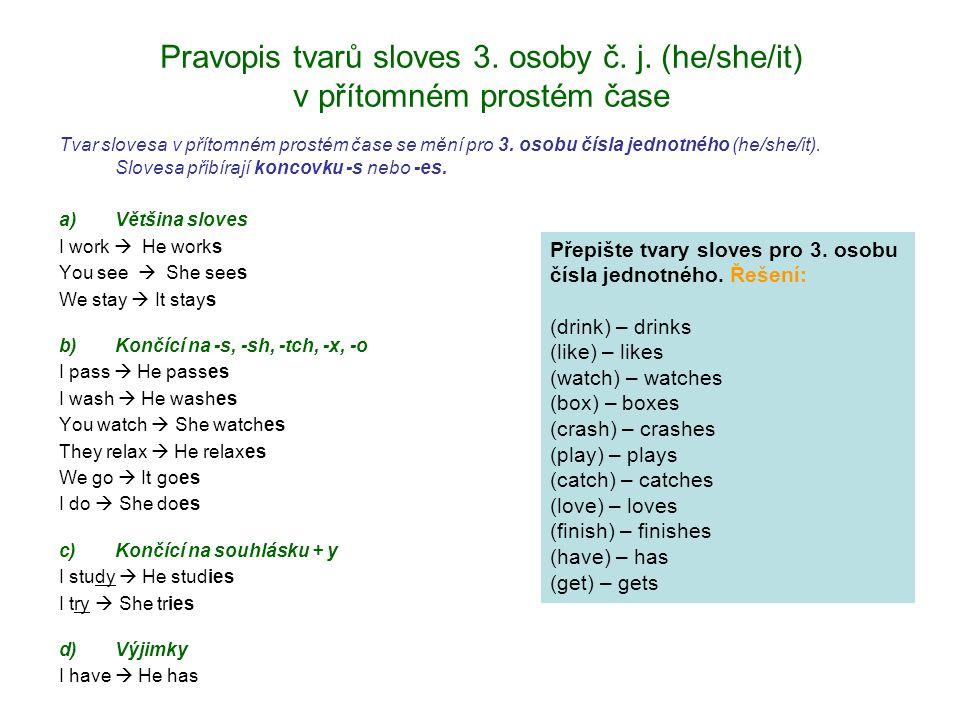 Pravopis tvarů sloves 3. osoby č. j.