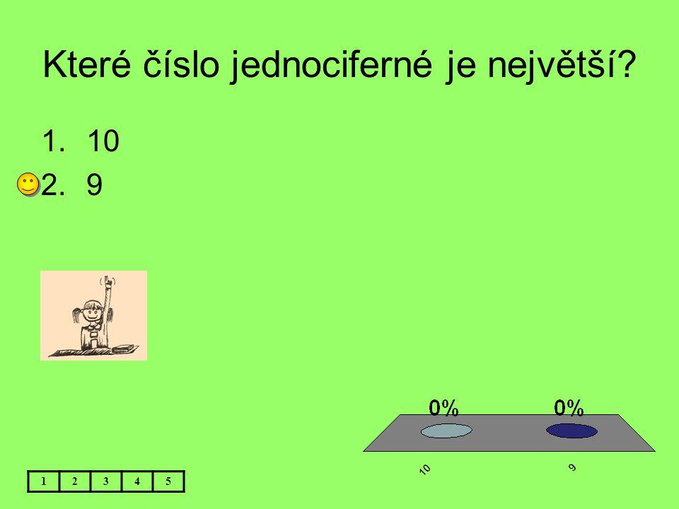 Které číslo jednociferné je největší? 12345 1.10 2.9
