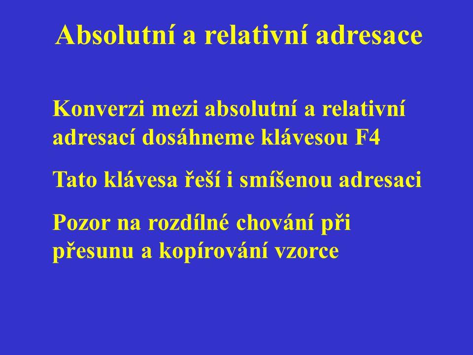 Absolutní a relativní adresace Konverzi mezi absolutní a relativní adresací dosáhneme klávesou F4 Tato klávesa řeší i smíšenou adresaci Pozor na rozdílné chování při přesunu a kopírování vzorce