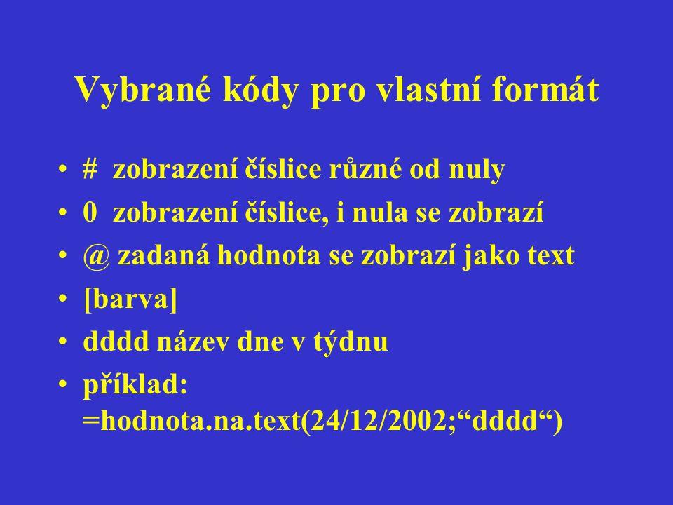 Vybrané kódy pro vlastní formát # zobrazení číslice různé od nuly 0 zobrazení číslice, i nula se zobrazí @ zadaná hodnota se zobrazí jako text [barva] dddd název dne v týdnu příklad: =hodnota.na.text(24/12/2002; dddd )