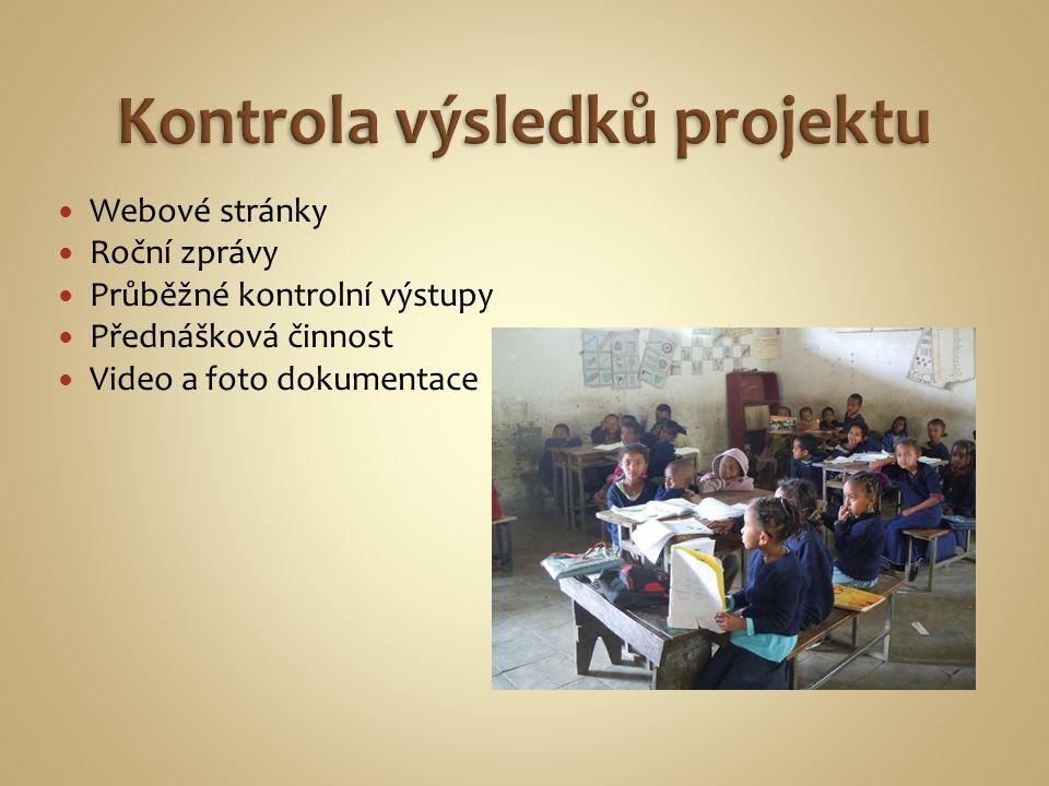 Webové stránky Roční zprávy Průběžné kontrolní výstupy Přednášková činnost Video a foto dokumentace