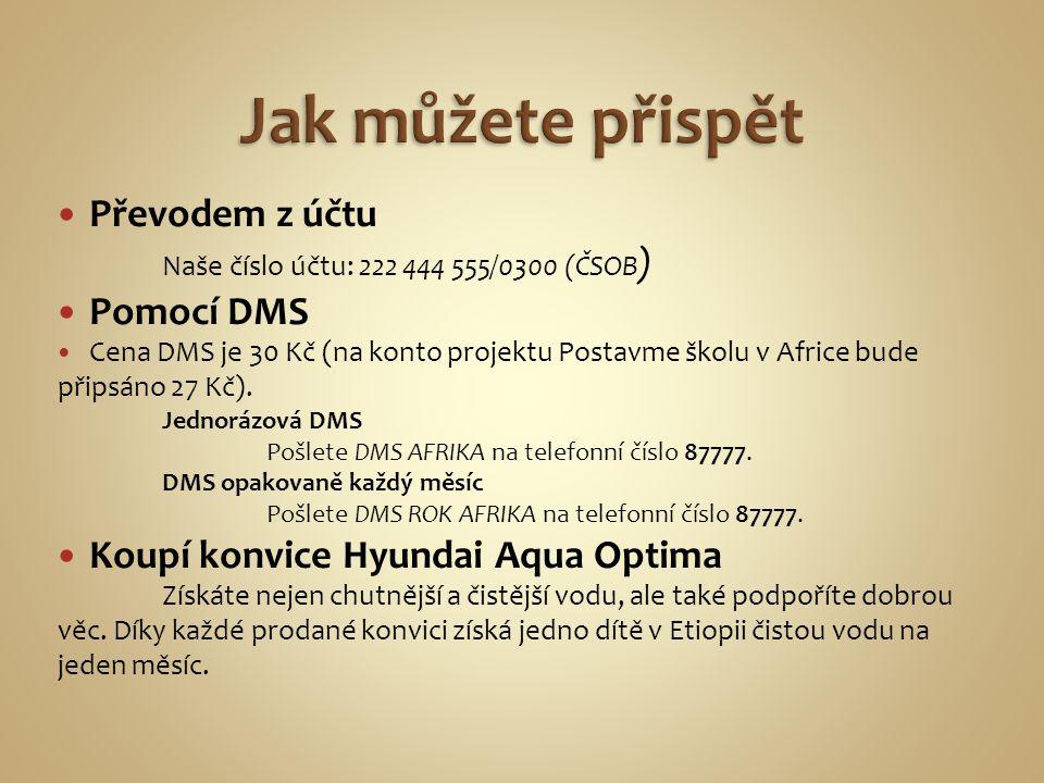 Převodem z účtu Naše číslo účtu: 222 444 555/0300 (ČSOB ) Pomocí DMS Cena DMS je 30 Kč (na konto projektu Postavme školu v Africe bude připsáno 27 Kč)