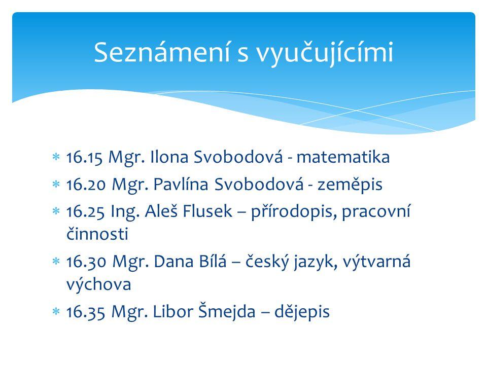  16.15 Mgr.Ilona Svobodová - matematika  16.20 Mgr.