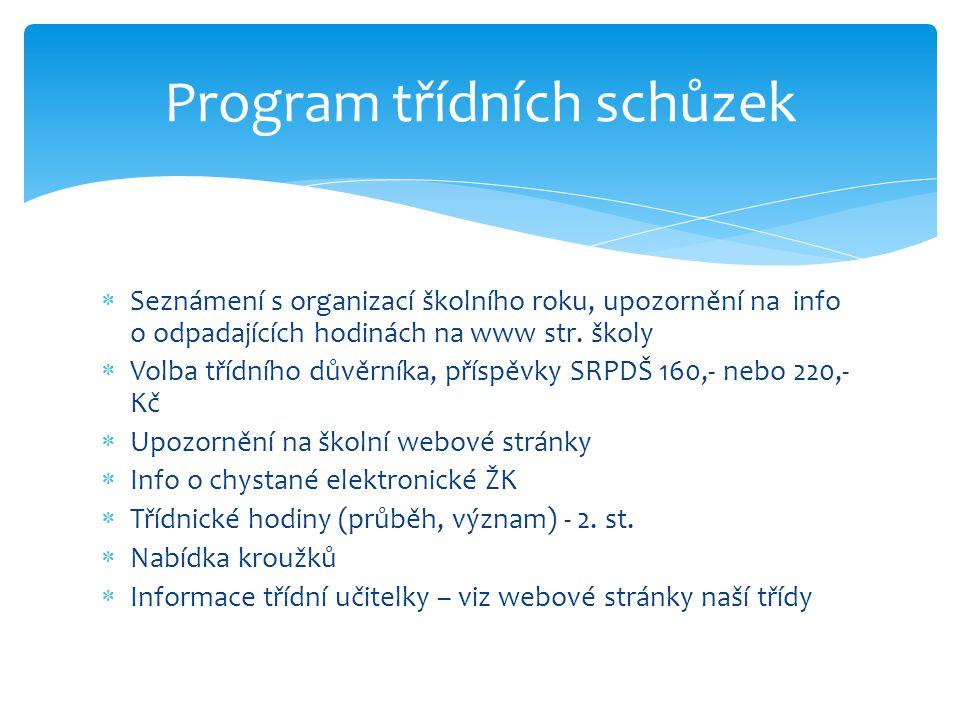  Seznámení s organizací školního roku, upozornění na info o odpadajících hodinách na www str.