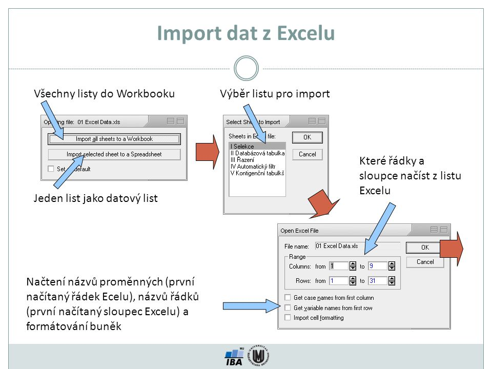 Import dat z Excelu Všechny listy do Workbooku Jeden list jako datový list Výběr listu pro import Které řádky a sloupce načíst z listu Excelu Načtení názvů proměnných (první načítaný řádek Ecelu), názvů řádků (první načítaný sloupec Excelu) a formátování buněk