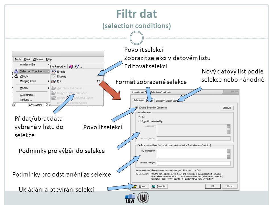 Filtr dat (selection conditions) Povolit selekci Zobrazit selekci v datovém listu Editovat selekci Přidat/ubrat data vybraná v listu do selekce Povoli