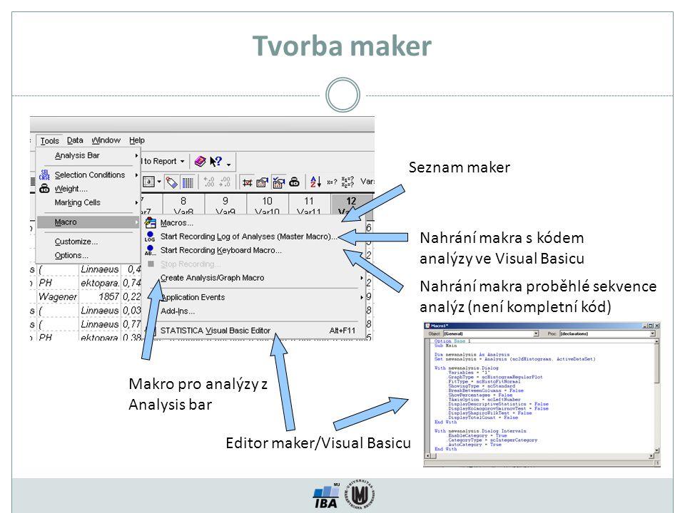 Tvorba maker Seznam maker Nahrání makra s kódem analýzy ve Visual Basicu Nahrání makra proběhlé sekvence analýz (není kompletní kód) Makro pro analýzy