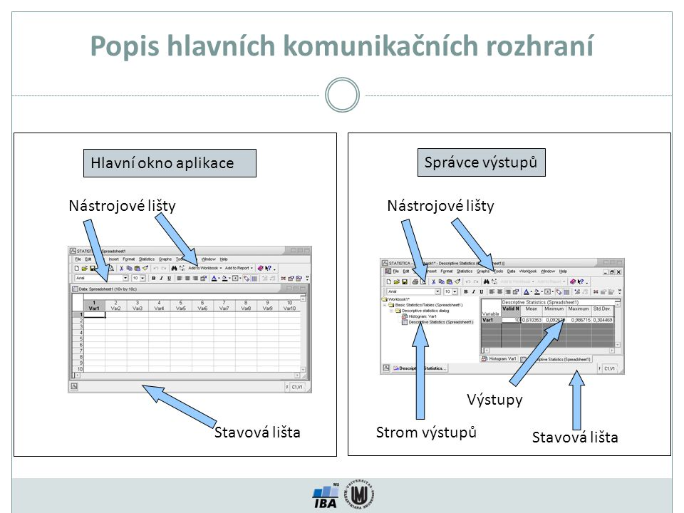 Analysis bar Oživení vybrané analýzy Výběr ze seznamu běžících analýz Grafické možnosti Output manager Tvorba maker Uzavírání a minimalizace analýz Analysis bar (2 běžící analýzy)