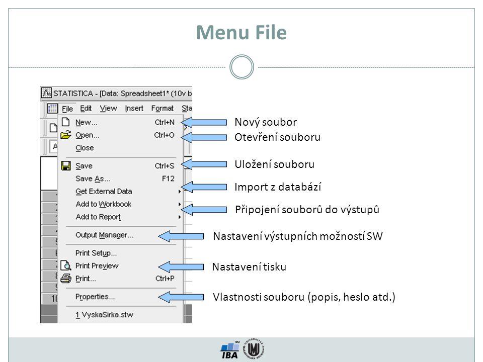 Menu File Nový soubor Nastavení tisku Vlastnosti souboru (popis, heslo atd.) Otevření souboru Nastavení výstupních možností SW Uložení souboru Import z databází Připojení souborů do výstupů