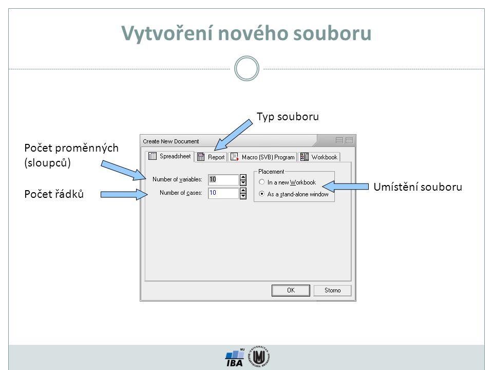 Vytvoření nového souboru Umístění souboru Typ souboru Počet proměnných (sloupců) Počet řádků