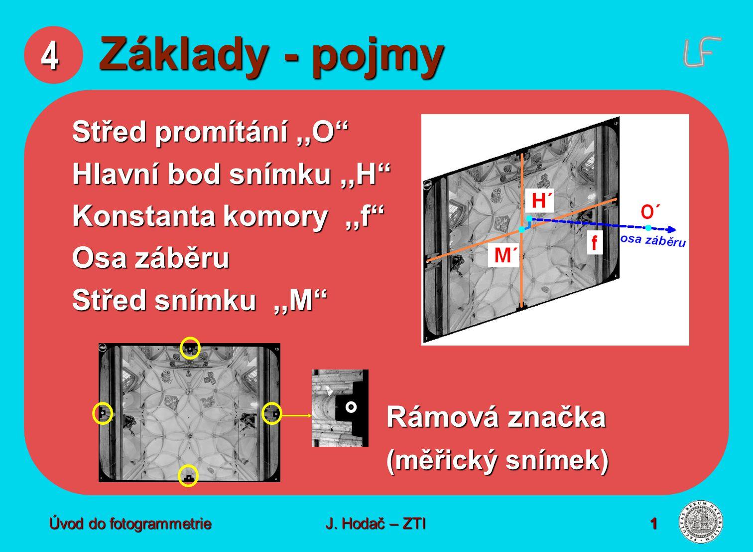 Úvod do fotogrammetrie1 4 Základy - pojmy Střed promítání,,O Hlavní bod snímku,,H Konstanta komory,,f Osa záběru Střed snímku,,M Rámová značka (měřický snímek) J.