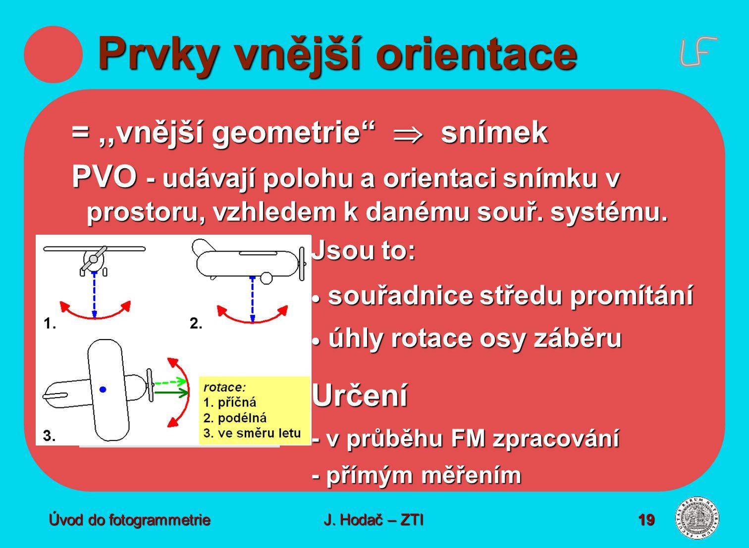 """Úvod do fotogrammetrie19 Prvky vnější orientace =,,vnější geometrie""""  snímek PVO - udávají polohu a orientaci snímku v prostoru, vzhledem k danému so"""