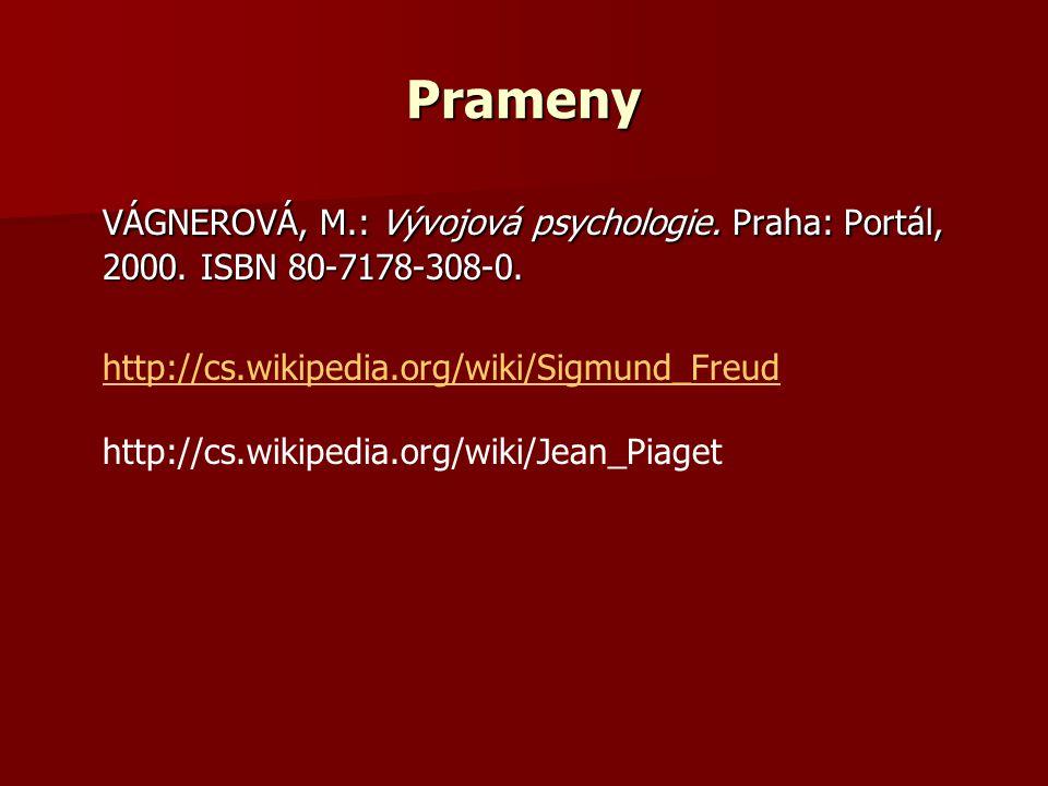 Prameny VÁGNEROVÁ, M.: Vývojová psychologie. Praha: Portál, 2000. ISBN 80-7178-308-0. http://cs.wikipedia.org/wiki/Sigmund_Freud http://cs.wikipedia.o