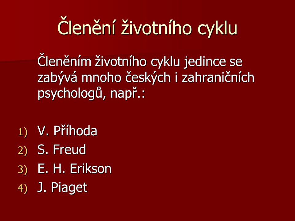 Členění životního cyklu Členěním životního cyklu jedince se zabývá mnoho českých i zahraničních psychologů, např.: 1) V. Příhoda 2) S. Freud 3) E. H.