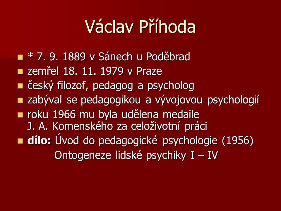 Václav Příhoda * 7. 9. 1889 v Sánech u Poděbrad * 7. 9. 1889 v Sánech u Poděbrad zemřel 18. 11. 1979 v Praze zemřel 18. 11. 1979 v Praze český filozof