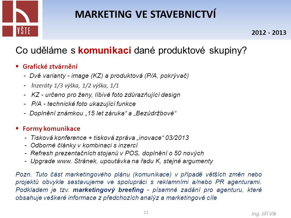 11 MARKETING VE STAVEBNICTVÍ Ing. Jiří Vlk 2012 - 2013 Co uděláme s komunikací dané produktové skupiny?  Grafické ztvárnění - Dvě varianty - image (K