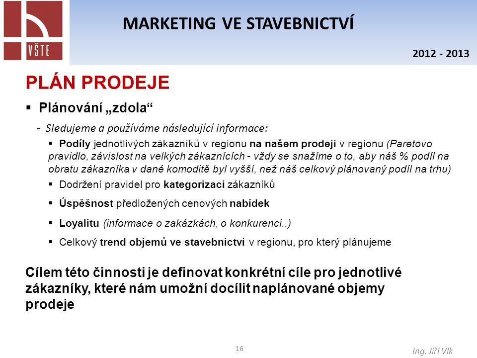 16 MARKETING VE STAVEBNICTVÍ Ing.