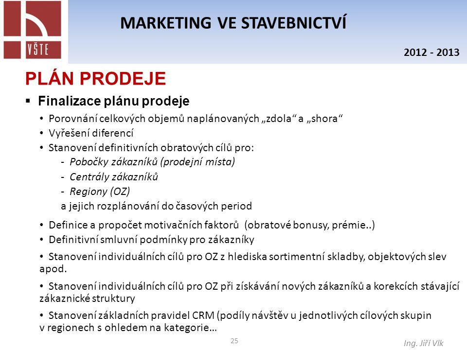 """25 MARKETING VE STAVEBNICTVÍ Ing. Jiří Vlk 2012 - 2013 PLÁN PRODEJE  Finalizace plánu prodeje Porovnání celkových objemů naplánovaných """"zdola"""" a """"sho"""