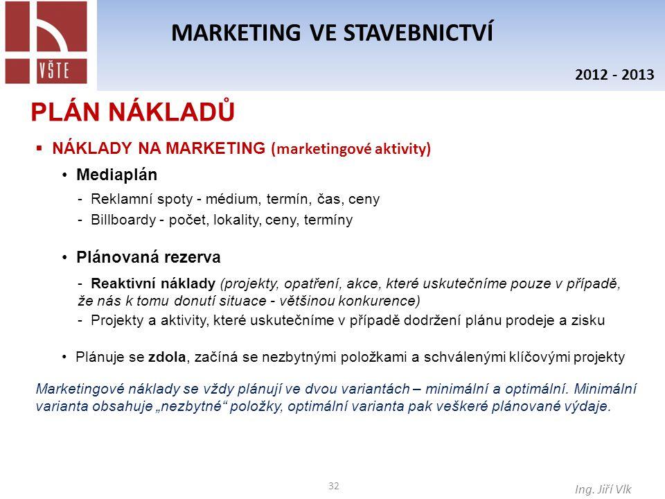 32 MARKETING VE STAVEBNICTVÍ Ing. Jiří Vlk 2012 - 2013  NÁKLADY NA MARKETING (marketingové aktivity) PLÁN NÁKLADŮ Mediaplán - Reklamní spoty - médium