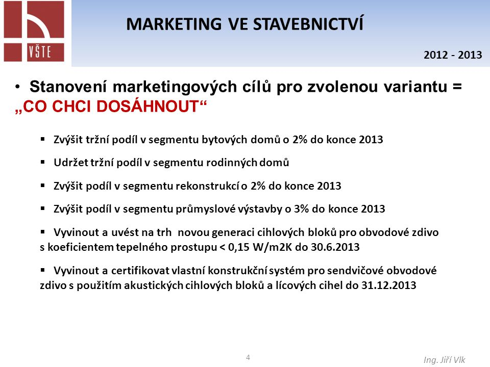 4 MARKETING VE STAVEBNICTVÍ Ing.