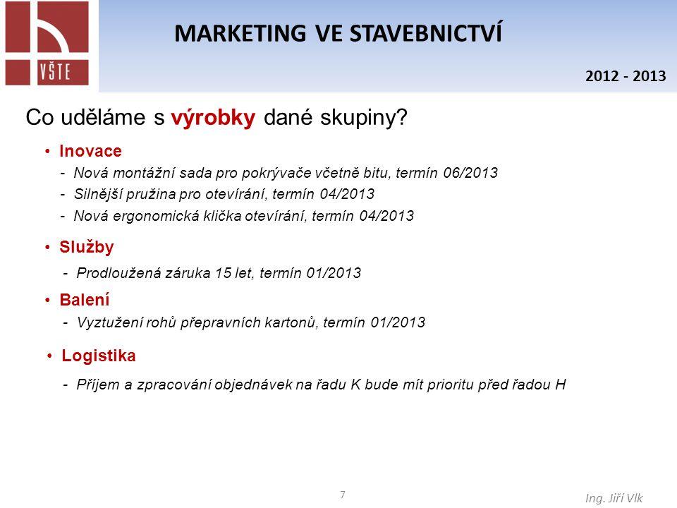 8 MARKETING VE STAVEBNICTVÍ Ing.Jiří Vlk 2012 - 2013 Co uděláme s cenami dané skupiny.