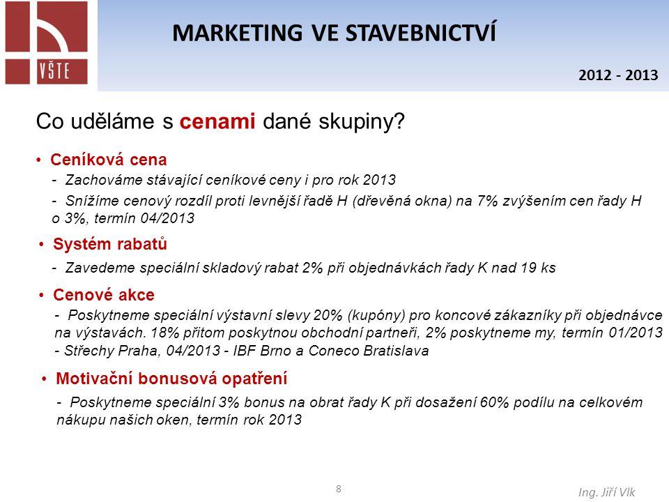9 MARKETING VE STAVEBNICTVÍ Ing.Jiří Vlk 2012 - 2013 Co uděláme s cenami dané skupiny.