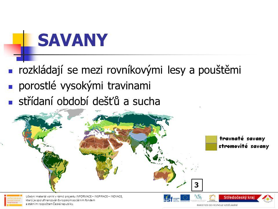 SAVANY rozkládají se mezi rovníkovými lesy a pouštěmi porostlé vysokými travinami střídaní období dešťů a sucha Učební materiál vznikl v rámci projektu INFORMACE – INSPIRACE – INOVACE, který je spolufinancován Evropským sociálním fondem a státním rozpočtem České republiky.