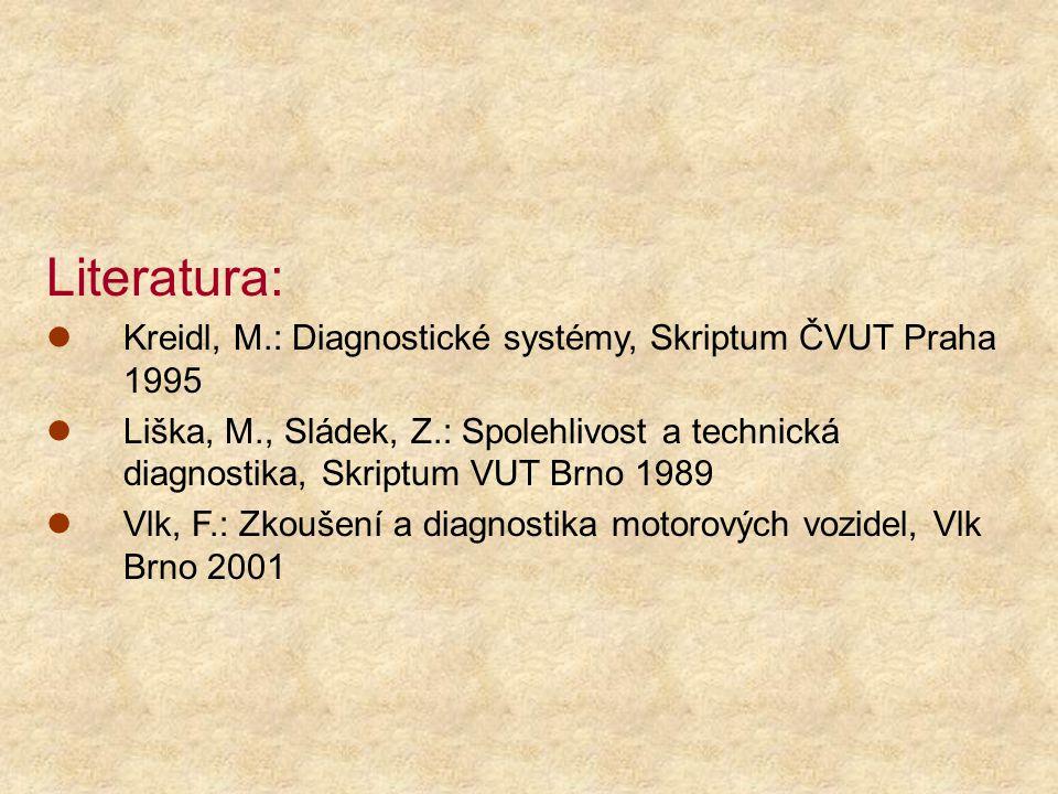Literatura: Kreidl, M.: Diagnostické systémy, Skriptum ČVUT Praha 1995 Liška, M., Sládek, Z.: Spolehlivost a technická diagnostika, Skriptum VUT Brno 1989 Vlk, F.: Zkoušení a diagnostika motorových vozidel, Vlk Brno 2001