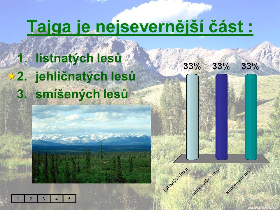Tajga je nejsevernější část : 1.listnatých lesů 2.jehličnatých lesů 3.smíšených lesů 12345