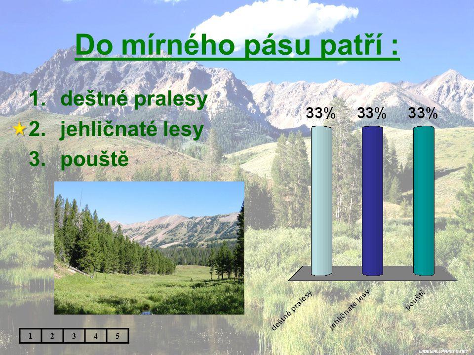 Do mírného pásu patří : 1.deštné pralesy 2.jehličnaté lesy 3.pouště 12345