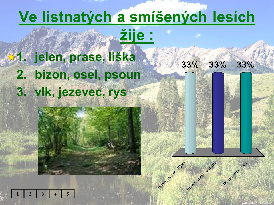 V jehličnatých lesích žije : 1.tuleň, mrož, tučňák 2.muflon, daněk, racek 3.medvěd, vlk, jezevec 12345