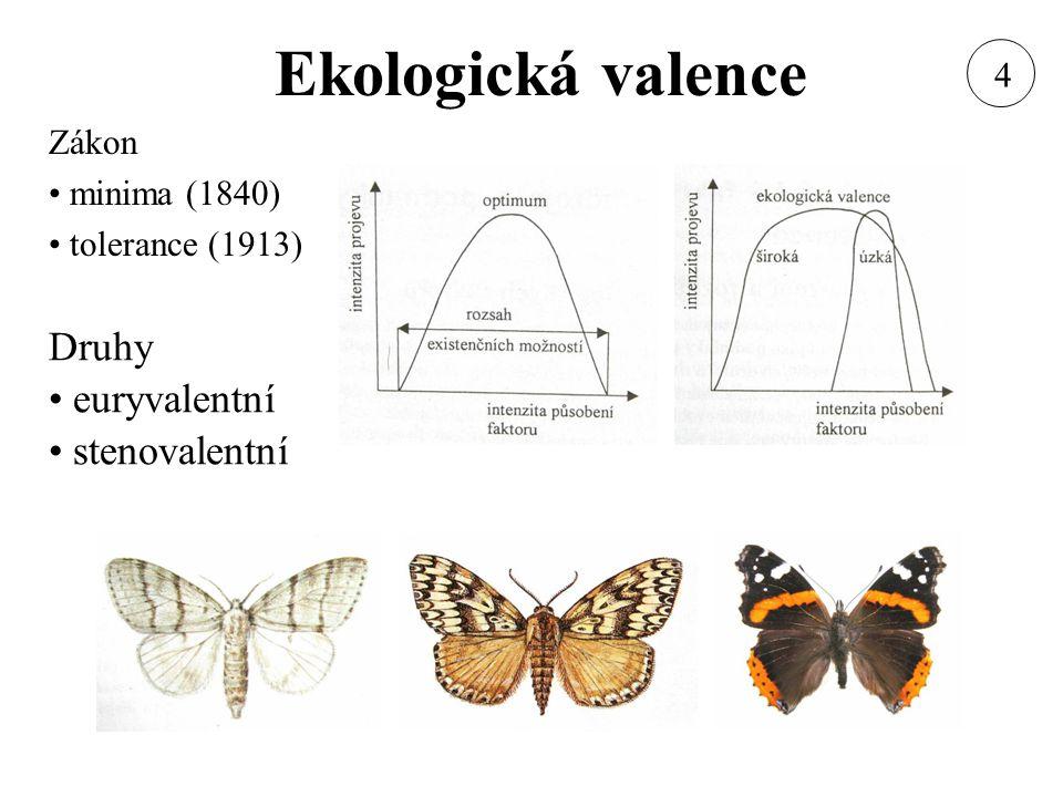 Ekologická valence Druhy euryvalentní stenovalentní Zákon minima (1840) tolerance (1913) 4