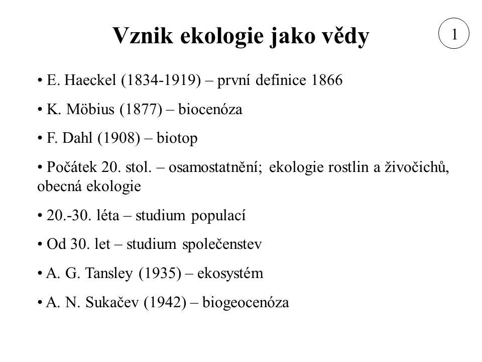 Vznik ekologie jako vědy E. Haeckel (1834-1919) – první definice 1866 K. Möbius (1877) – biocenóza F. Dahl (1908) – biotop Počátek 20. stol. – osamost
