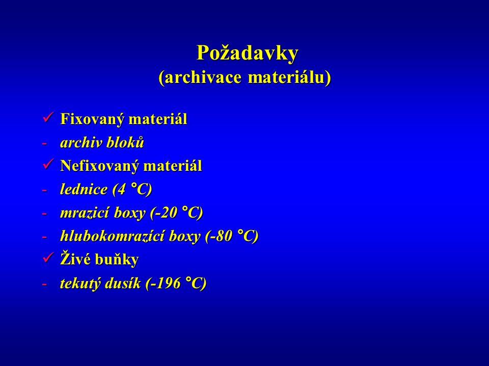 Požadavky (archivace materiálu) Požadavky (archivace materiálu) Fixovaný materiál Fixovaný materiál -archiv bloků Nefixovaný materiál Nefixovaný mater