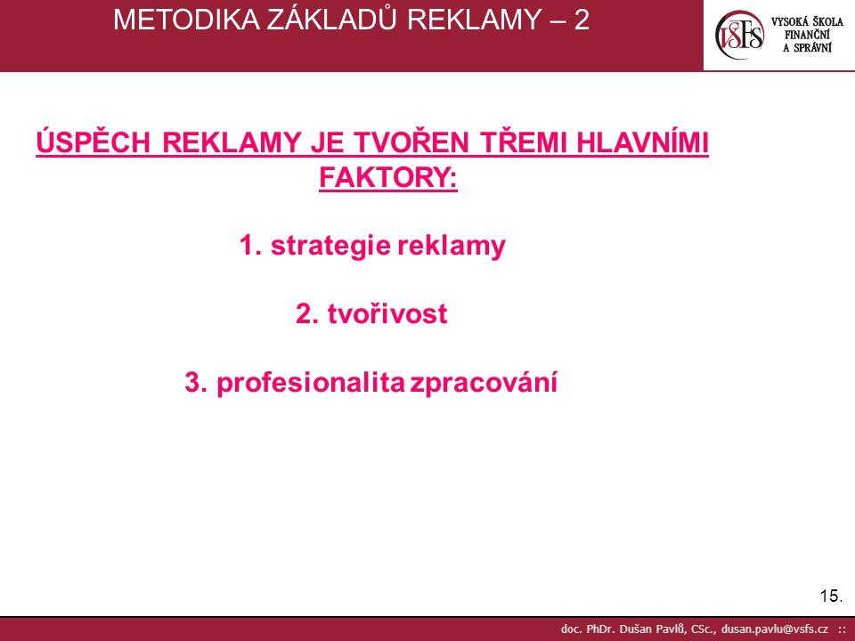 15. doc. PhDr. Dušan Pavlů, CSc., dusan.pavlu@vsfs.cz :: METODIKA ZÁKLADŮ REKLAMY – 2 ÚSPĚCH REKLAMY JE TVOŘEN TŘEMI HLAVNÍMI FAKTORY: 1.strategie rek