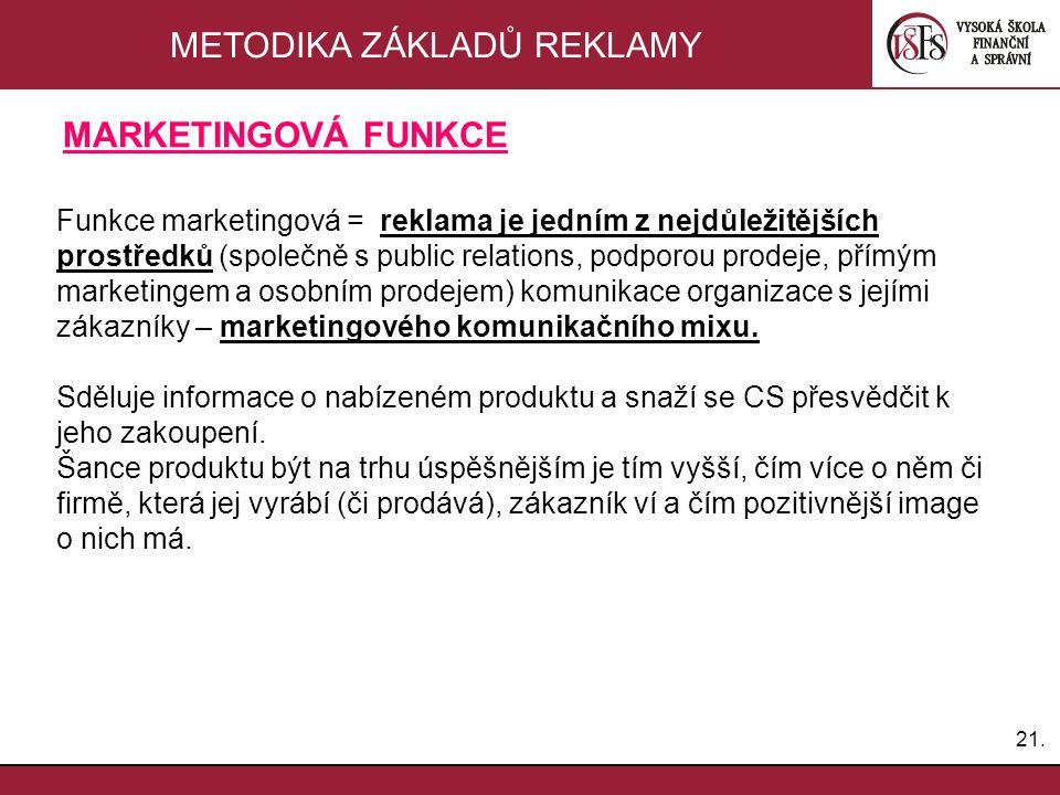 21. METODIKA ZÁKLADŮ REKLAMY Funkce marketingová = reklama je jedním z nejdůležitějších prostředků (společně s public relations, podporou prodeje, pří