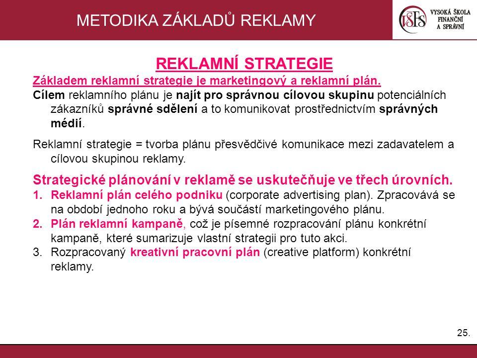 25. METODIKA ZÁKLADŮ REKLAMY REKLAMNÍ STRATEGIE Základem reklamní strategie je marketingový a reklamní plán. Cílem reklamního plánu je najít pro správ