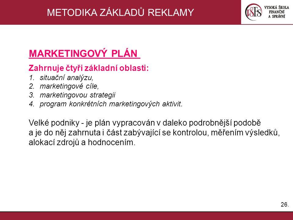 26. METODIKA ZÁKLADŮ REKLAMY MARKETINGOVÝ PLÁN Zahrnuje čtyři základní oblasti: 1.situační analýzu, 2.marketingové cíle, 3.marketingovou strategii 4.p