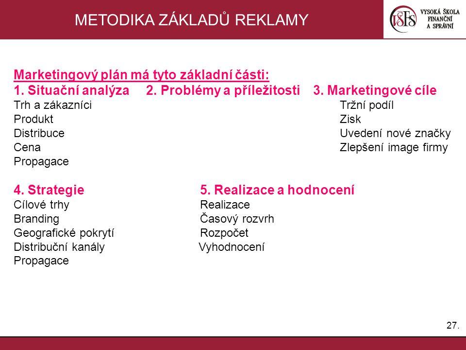 27. METODIKA ZÁKLADŮ REKLAMY Marketingový plán má tyto základní části: 1. Situační analýza 2. Problémy a příležitosti 3. Marketingové cíle Trh a zákaz