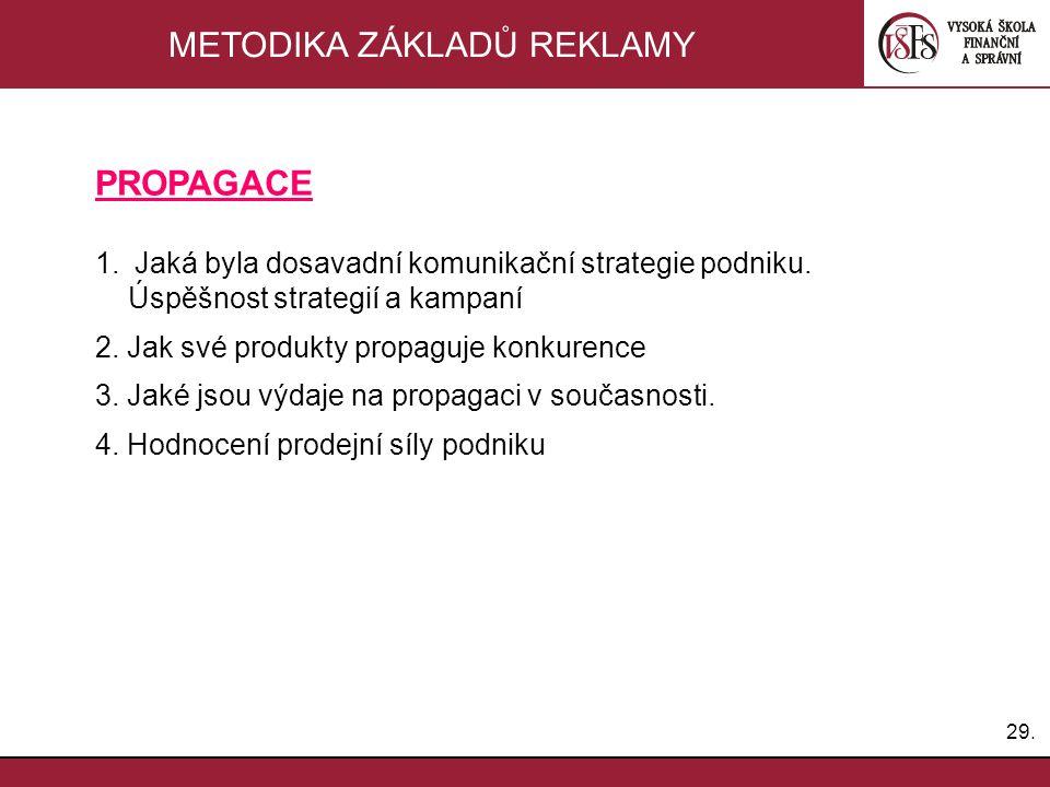 29. METODIKA ZÁKLADŮ REKLAMY PROPAGACE 1.Jaká byla dosavadní komunikační strategie podniku. Úspěšnost strategií a kampaní 2. Jak své produkty propaguj