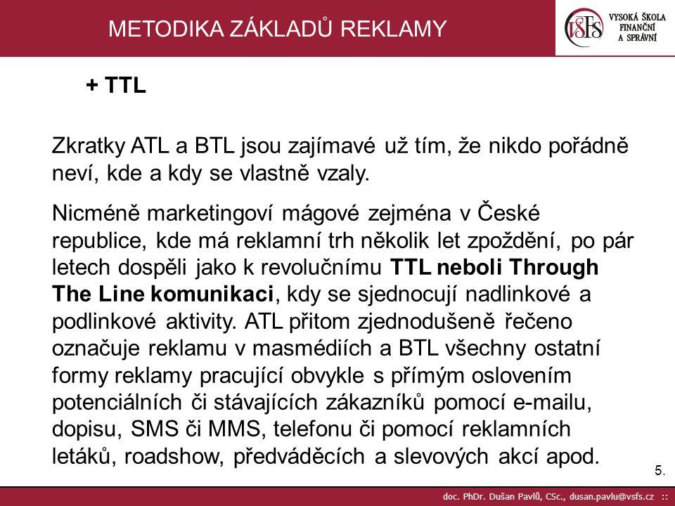 5.5. doc. PhDr. Dušan Pavlů, CSc., dusan.pavlu@vsfs.cz :: METODIKA ZÁKLADŮ REKLAMY Zkratky ATL a BTL jsou zajímavé už tím, že nikdo pořádně neví, kde