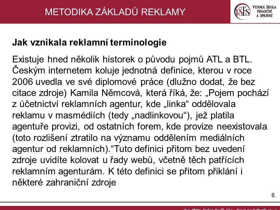 6.6. doc. PhDr. Dušan Pavlů, CSc., dusan.pavlu@vsfs.cz :: METODIKA ZÁKLADŮ REKLAMY Jak vznikala reklamní terminologie Existuje hned několik historek o