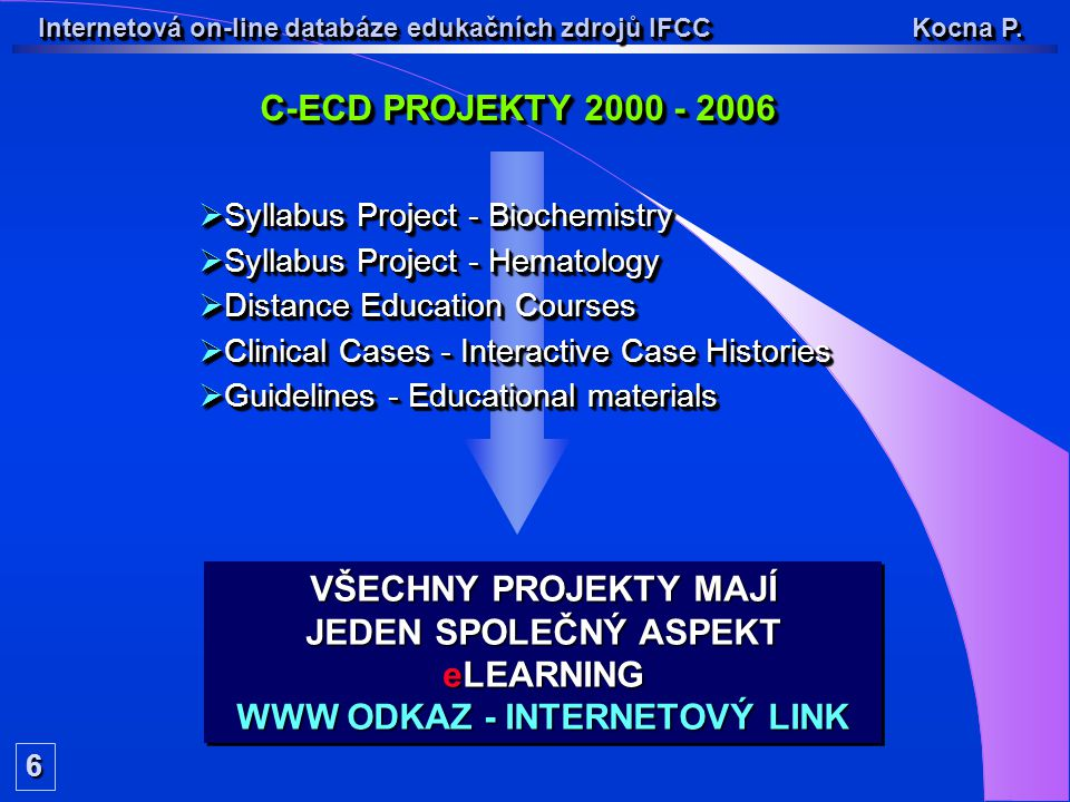 C-ECD PROJEKTY 2000 - 2006 6  Syllabus Project - Biochemistry  Syllabus Project - Hematology  Distance Education Courses  Clinical Cases - Interactive Case Histories  Guidelines - Educational materials  Syllabus Project - Biochemistry  Syllabus Project - Hematology  Distance Education Courses  Clinical Cases - Interactive Case Histories  Guidelines - Educational materials VŠECHNY PROJEKTY MAJÍ JEDEN SPOLEČNÝ ASPEKT eLEARNING WWW ODKAZ - INTERNETOVÝ LINK VŠECHNY PROJEKTY MAJÍ JEDEN SPOLEČNÝ ASPEKT eLEARNING WWW ODKAZ - INTERNETOVÝ LINK Internetová on-line databáze edukačních zdrojů IFCC Kocna P.