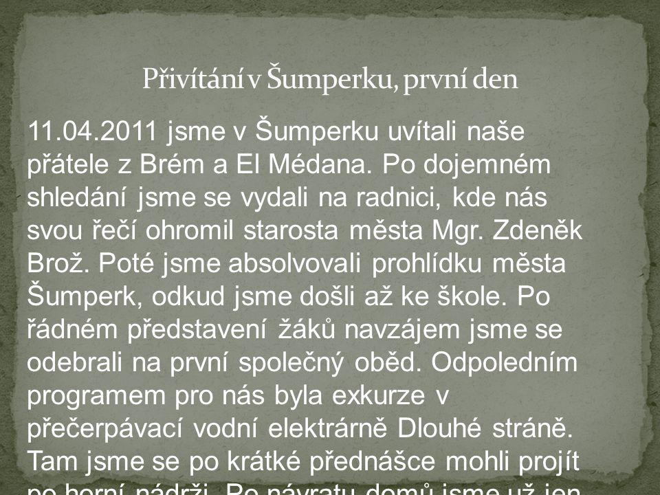 11.04.2011 jsme v Šumperku uvítali naše přátele z Brém a El Médana. Po dojemném shledání jsme se vydali na radnici, kde nás svou řečí ohromil starosta
