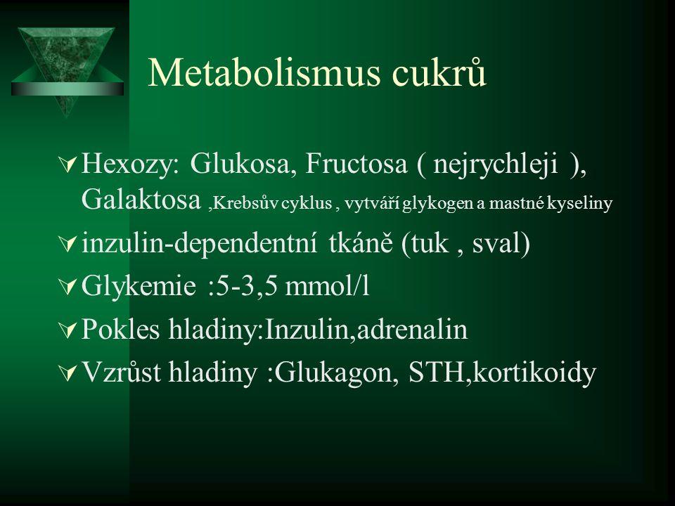 Metabolismus cukrů  Hexozy: Glukosa, Fructosa ( nejrychleji ), Galaktosa,Krebsův cyklus, vytváří glykogen a mastné kyseliny  inzulin-dependentní tkáně (tuk, sval)  Glykemie :5-3,5 mmol/l  Pokles hladiny:Inzulin,adrenalin  Vzrůst hladiny :Glukagon, STH,kortikoidy