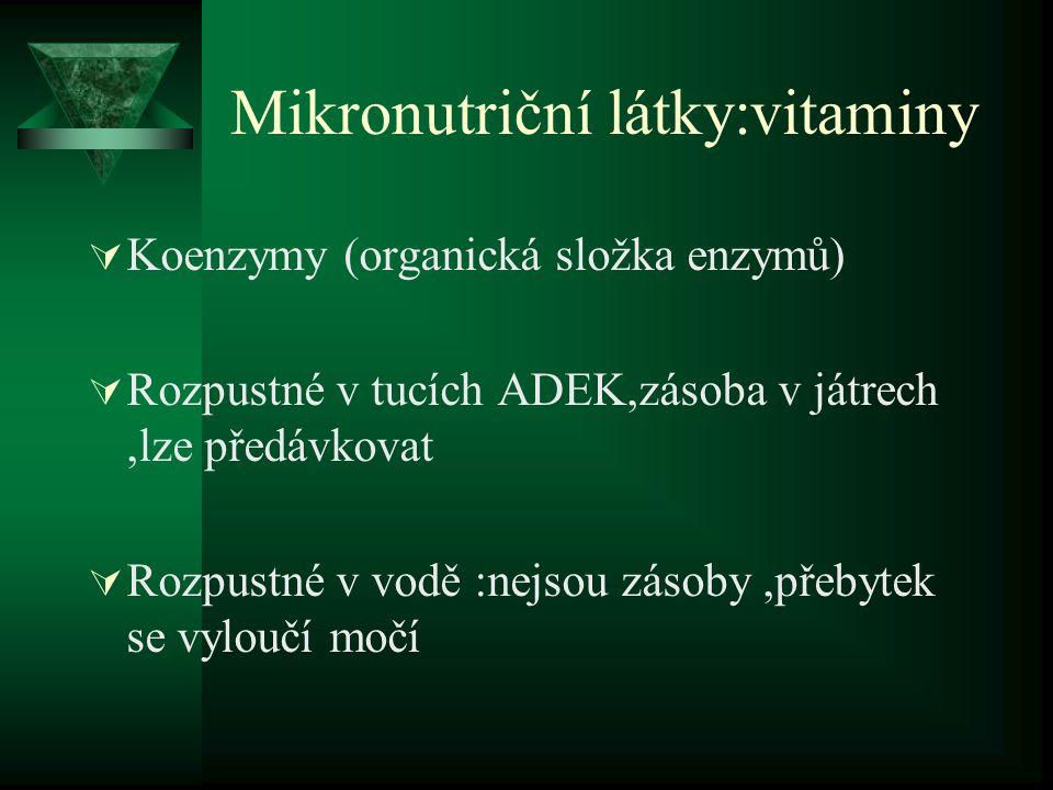 Mikronutriční látky:vitaminy  Koenzymy (organická složka enzymů)  Rozpustné v tucích ADEK,zásoba v játrech,lze předávkovat  Rozpustné v vodě :nejsou zásoby,přebytek se vyloučí močí
